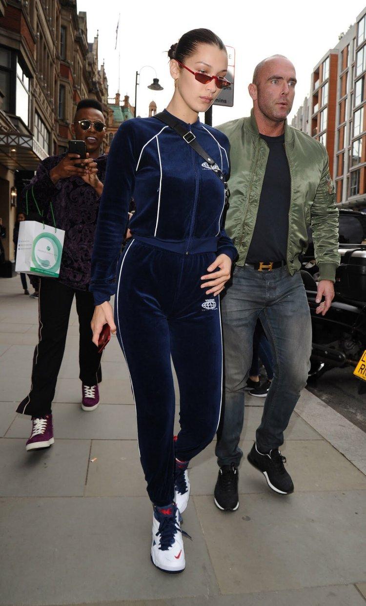 Bella Hadid in the Kith x Nike Air Maestro 2 F&F