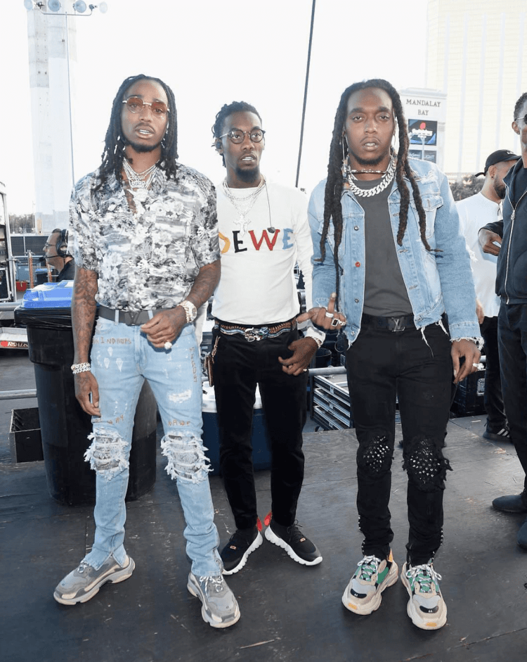 Quavo & Takeoff in the Balenciaga Triple S sneakers & Offset in the Gucci sneakers