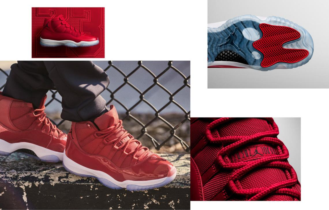 """2fc59060269 Air Jordan 11 """"Win Like '96"""". Colorway: Gym Red/Black-White Style #:  378037-623. Release Date: December 9, 2017. Price: $220"""