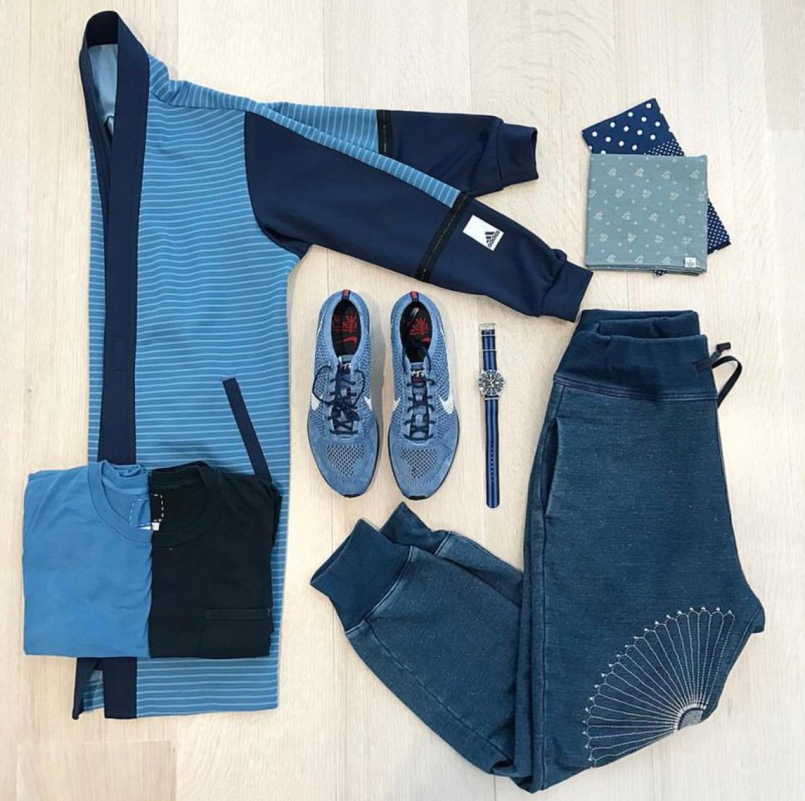 Incorporating various shades of indigo throughout your look is a great way to ensure that your style is gridlocked.