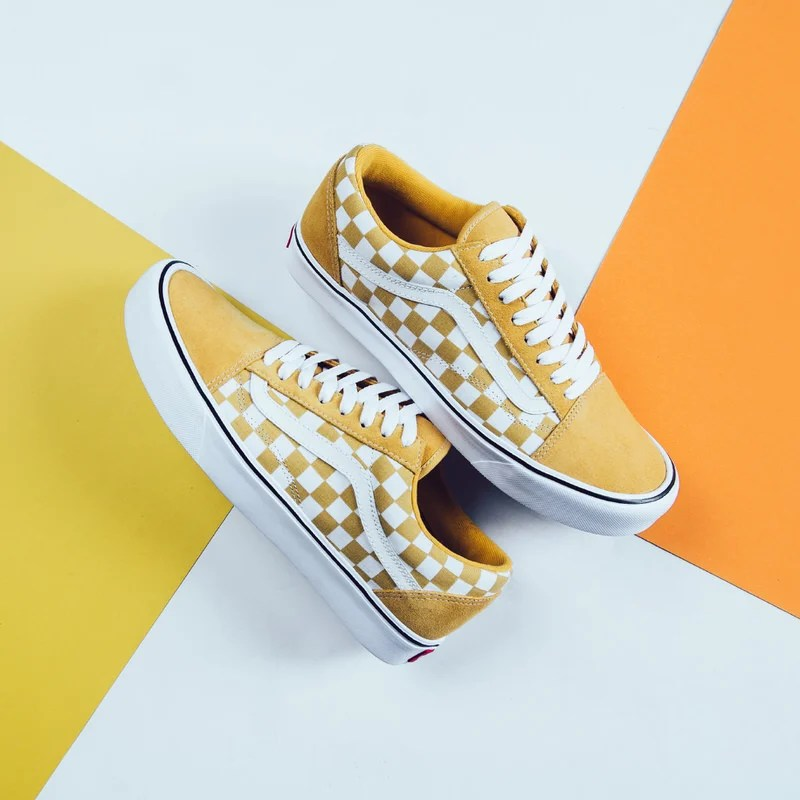 vans old skool checkerboard skate shoes black yellow white