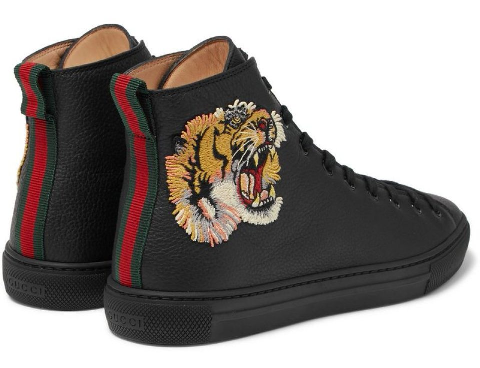 Gucci Major Tiger Appliquéd Sneakers