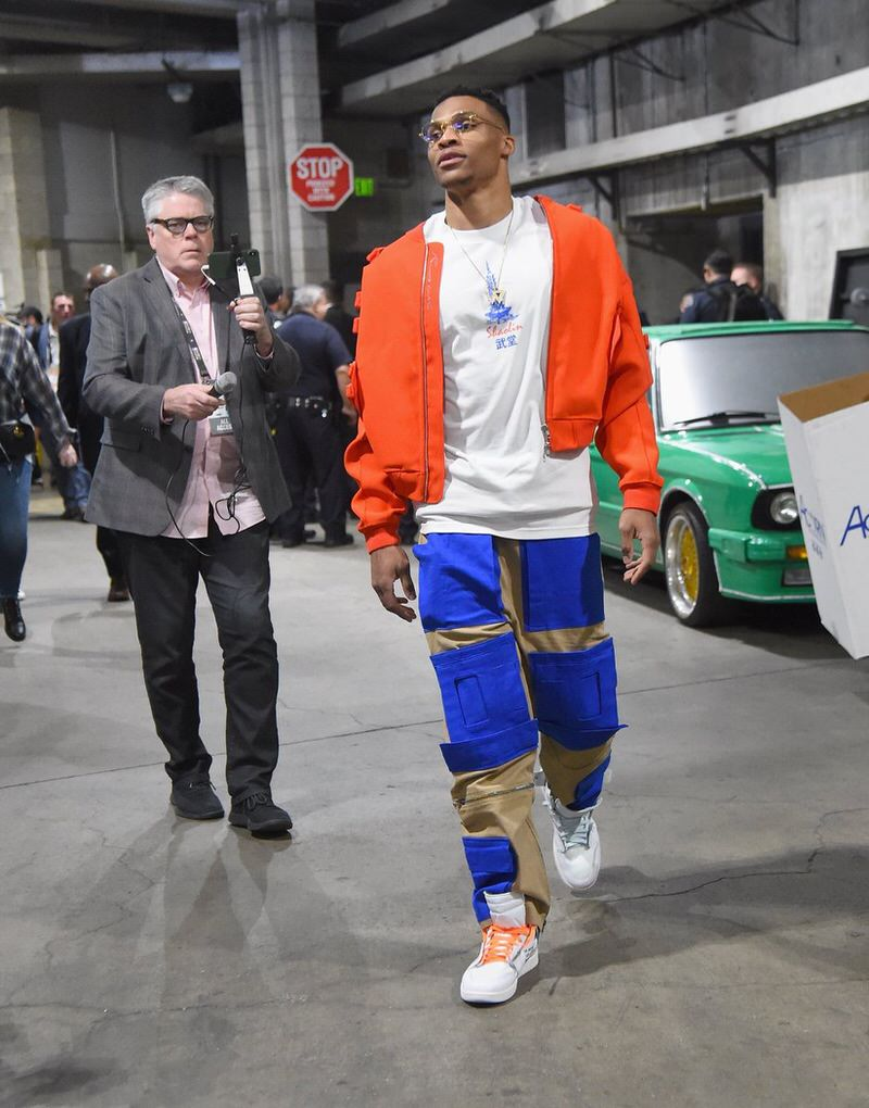 premium selection d5fd4 bafba ... coupon for kid cudi in the adidas yeezy 500 russell westbrook in the  off white x ...