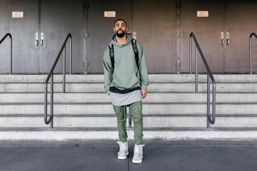 Yeezy 750s are a surefire way to add some contrast to your neutral wardrobe palette.