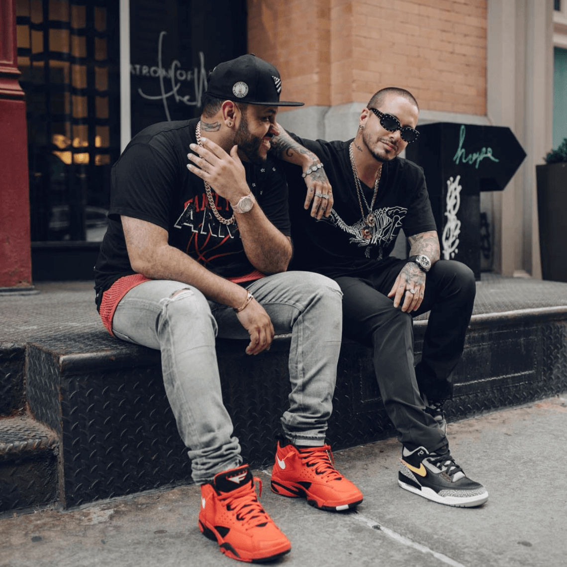 "J Balvin in the Air Jordan 3 ""Tinker"" & Upscale Vandal in the Nike Air Maestro 2"