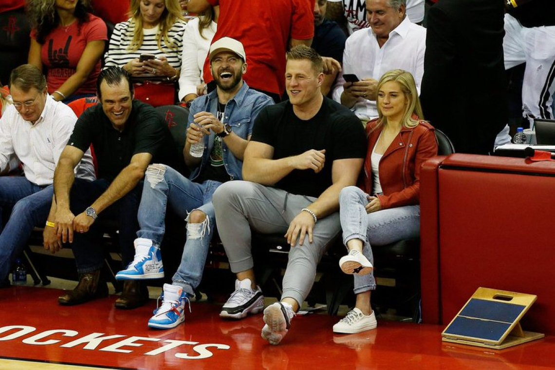"Justin Timberlake in the Off-White x Air Jordan 1 ""Carolina"" x JJ Watt in the Bait x Reebok Run DMX 10"