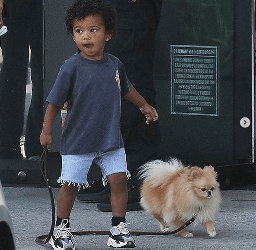 Saint West in the adidas Yeezy 700