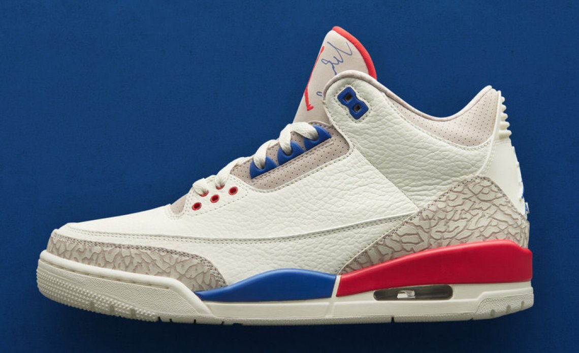 """lowest price ef10f b54bc Sporting Mike's signature on the tongue and fire red accents, look for the Air  Jordan 3 """"International Flight"""" to lands at retailers this fall."""
