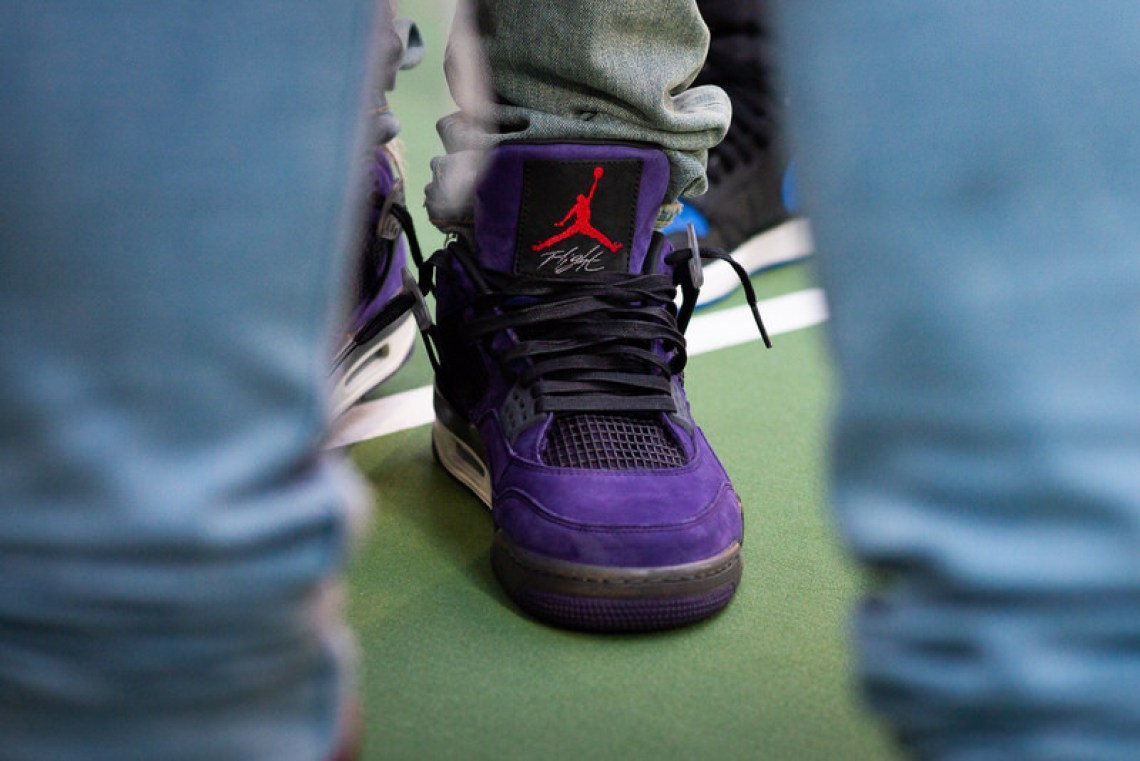 "627ea54bc95 For the best look yet at the Travis Scott x Air Jordan 4 ""Purple Suede,""  peep the shots on Chase below."