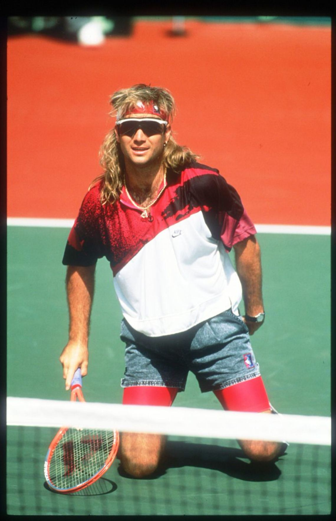It's as if Agassi predicted the future of style. Wild patterns are back and so are Razor Blade sunglasses.