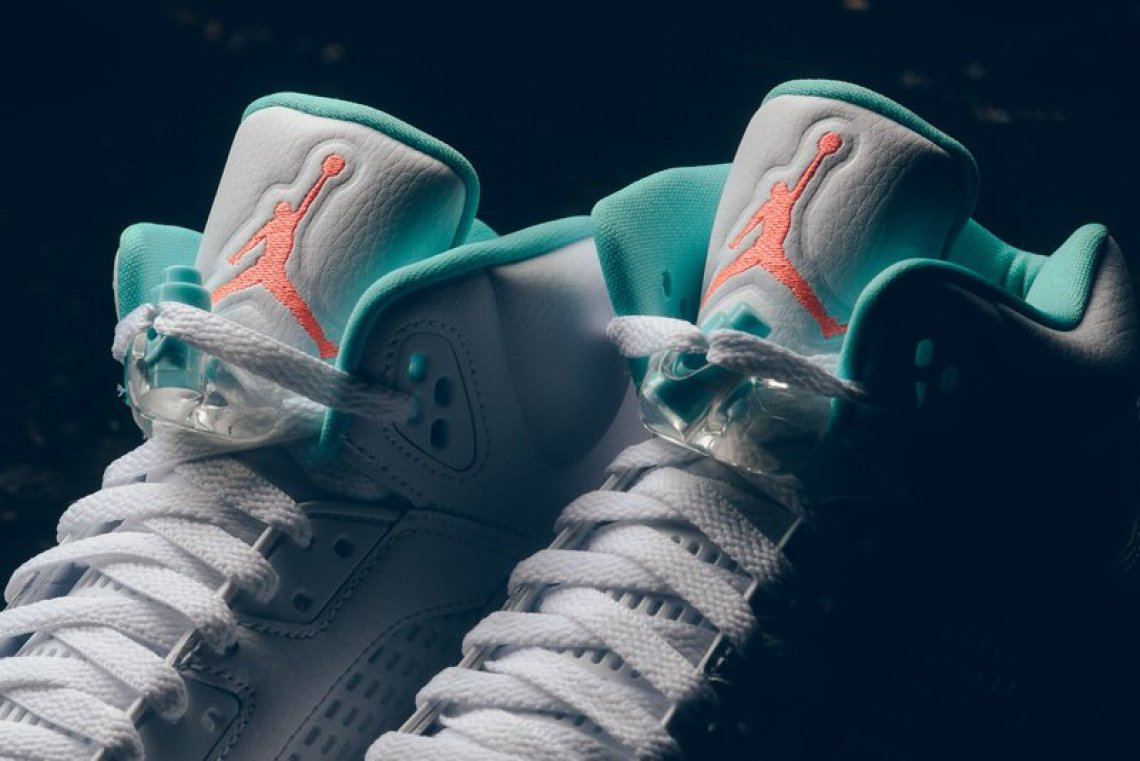 Air Jordan 5 White/Light Aqua