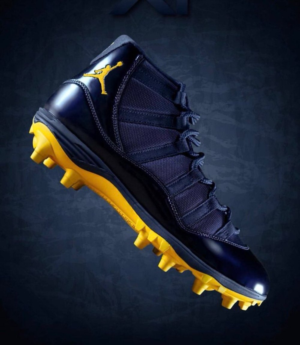 "Air Jordan 11 ""Michigan"" PE Cleats"
