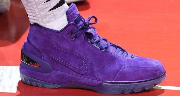 c3acc70c42a LeBron James Wears Purple Suede Nike Air Zoom Generation PE With Lakers Gear