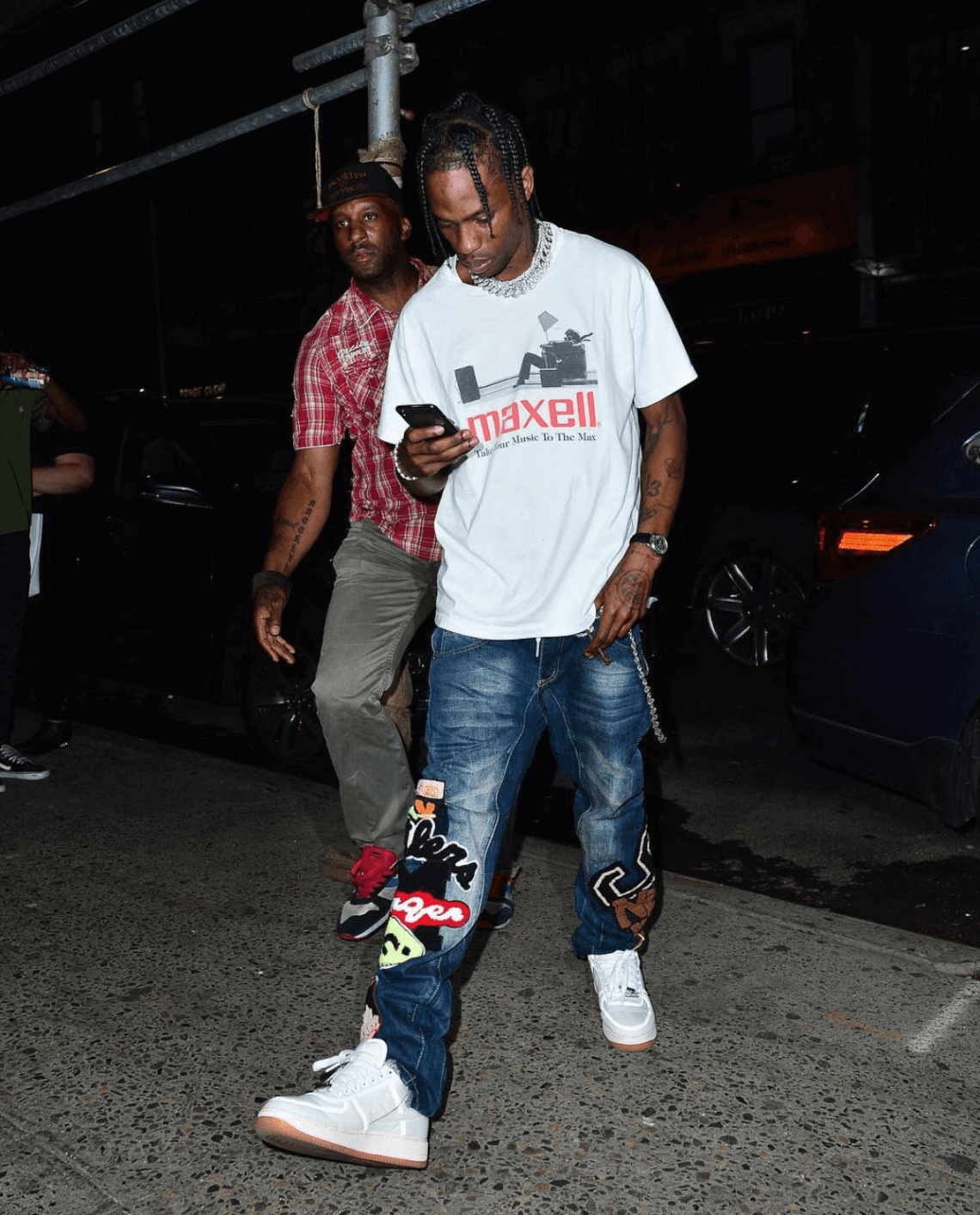 Travis Scott in the Travis Scott x Nike Air Force 1 Low