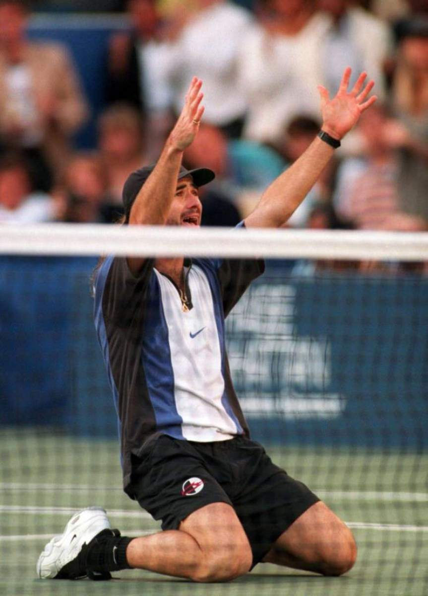 Agassi putting some of that signature flare into play