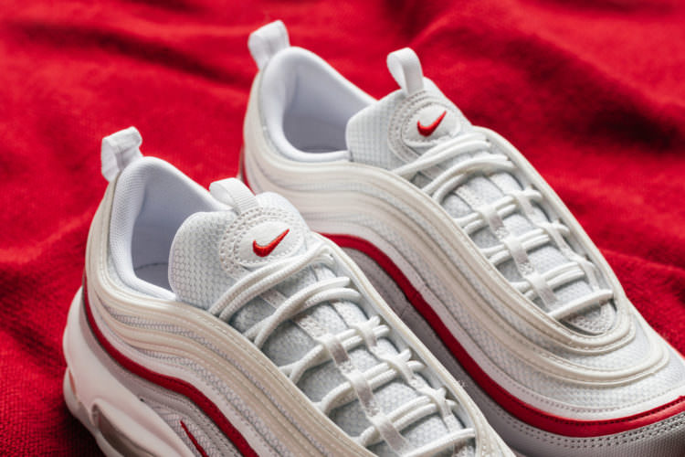 "88cec6e37a The Nike Air Max 97 ""Pure Platinum White/University Red"" is available now  for $160 from Feature."
