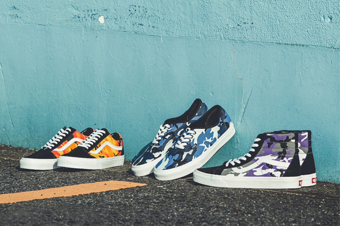 88affb8673c2b Hooking up the Old Skool, Authentic and Sk8-Hi in bold camo prints set to  orange, purple and blue. The executions come as expected, adding topical pop  to ...