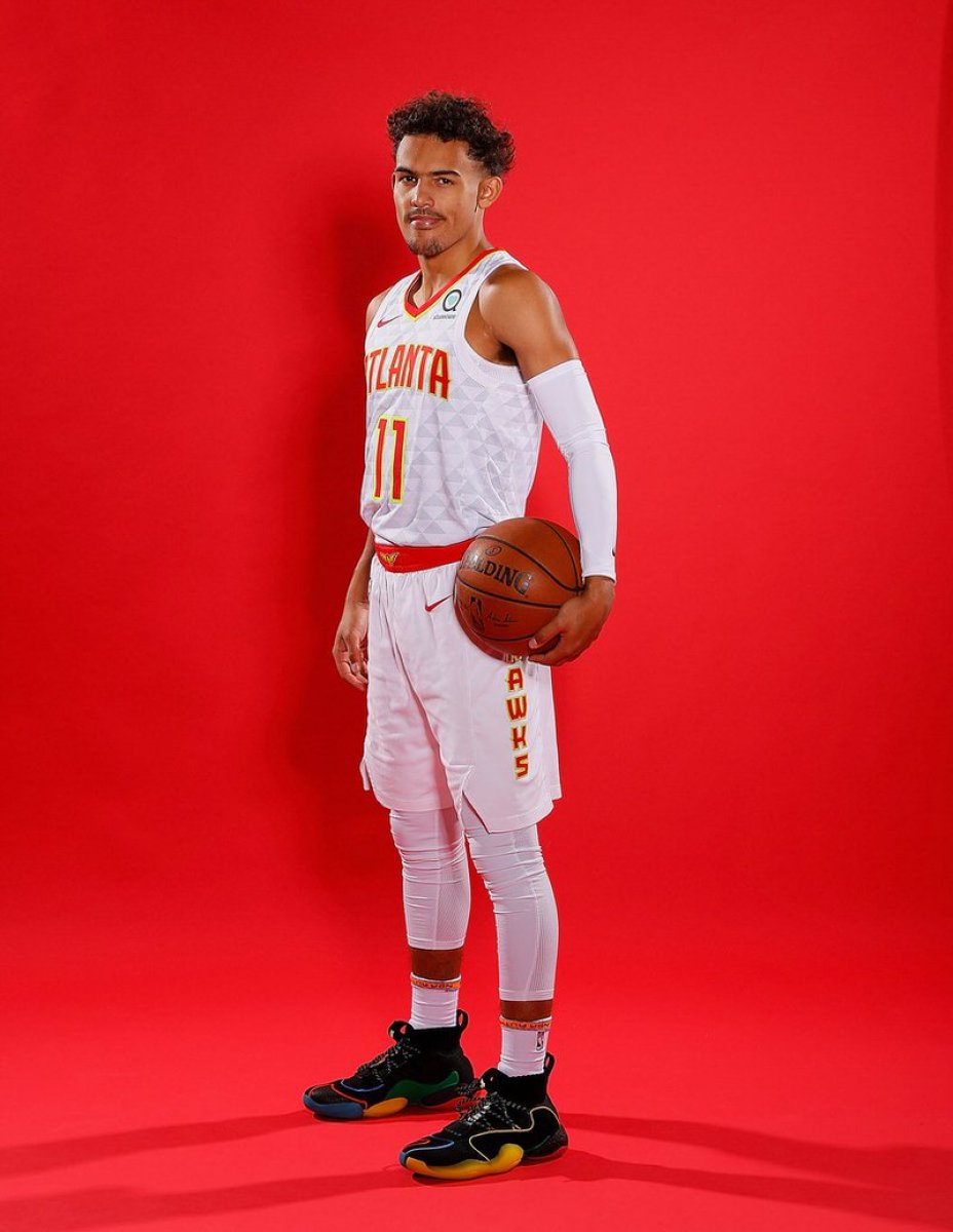 Trae Young in the Pharrell Williams x adidas BYW X