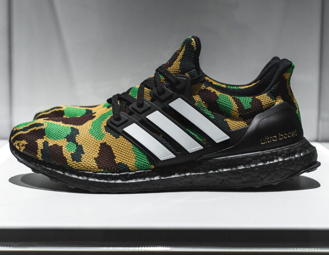 be57fa74a BAPE would focus on their signature camouflage print  adidas would probably  explore color Boost  that s what we all guessed. Both were correct — in  part.