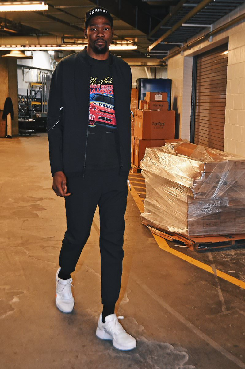 Kevin Durant in the Off White x Nike Air Presto 'White'