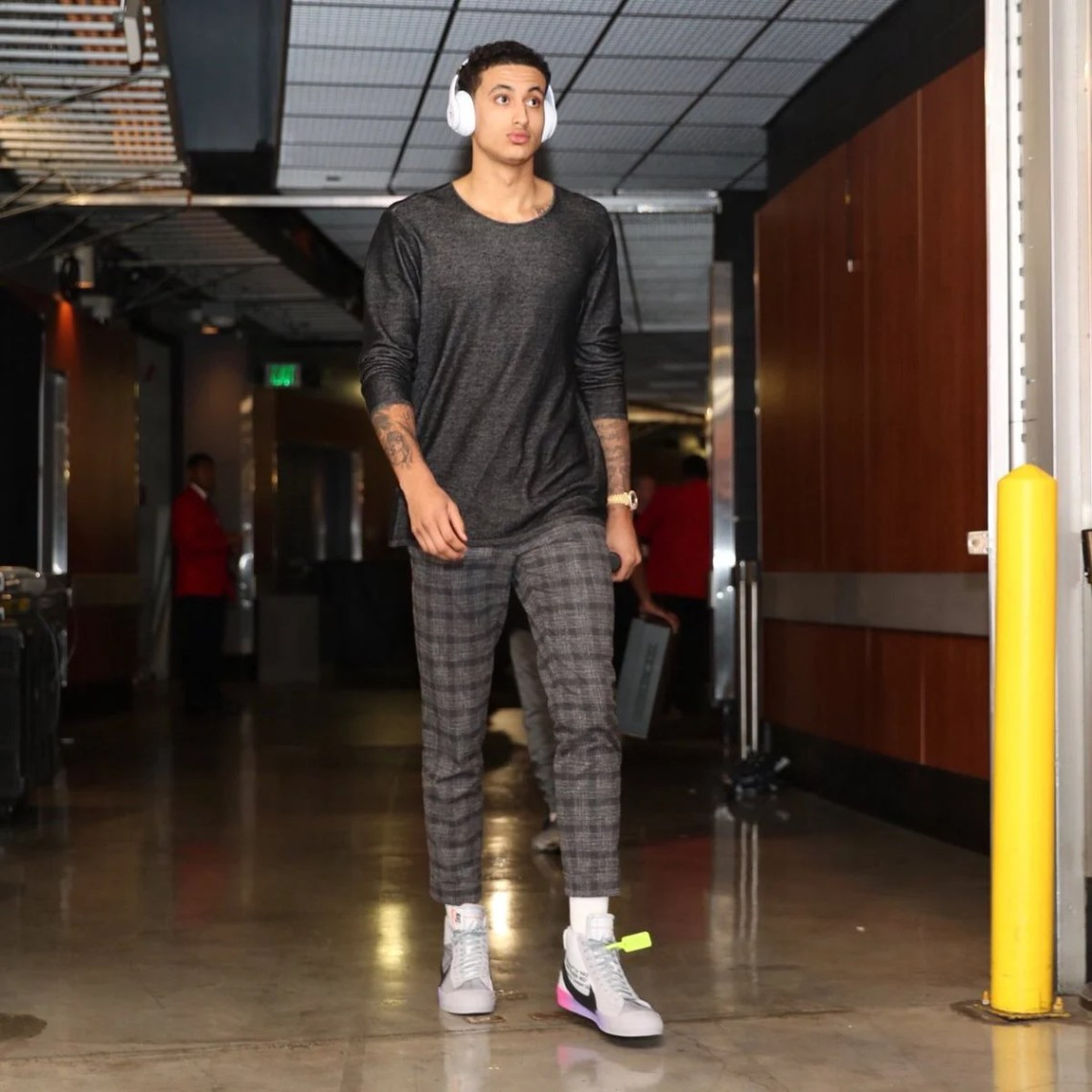 Kyle Kuzma in the Off-White x Serena Williams x Nike Blazer Mid