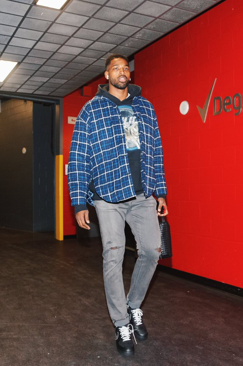 Tristan Thompson in the Off White x Nike Air Force 1 Low 'MOMA""