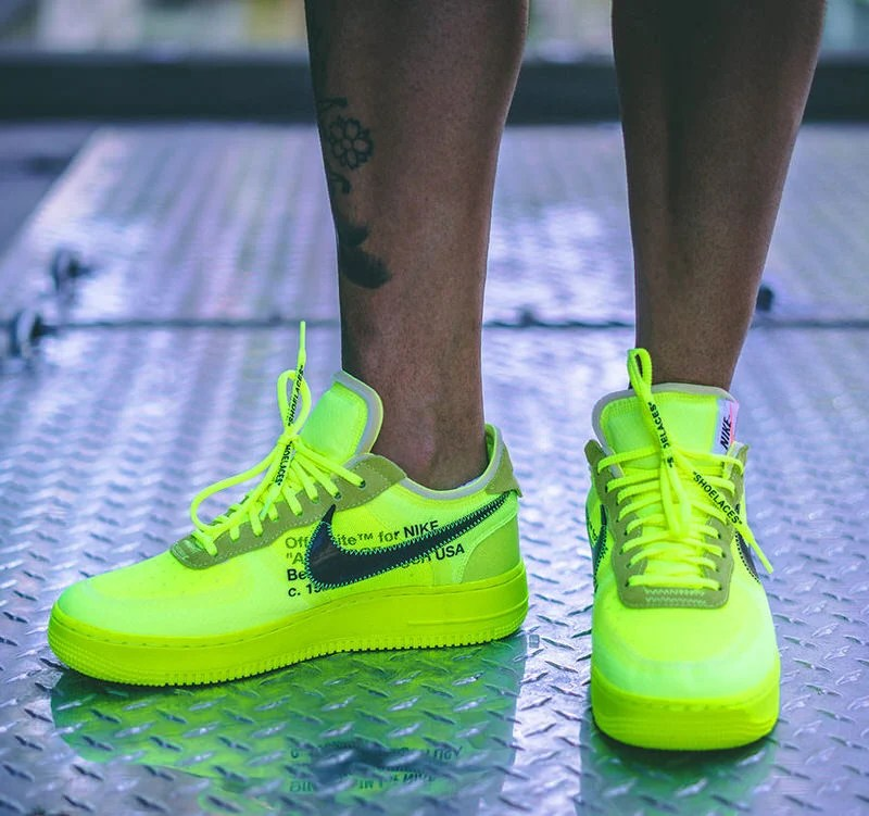 2018 Off White X Nike Air Force 1 Low VoltCone Black Hyper Jade AO4606 700