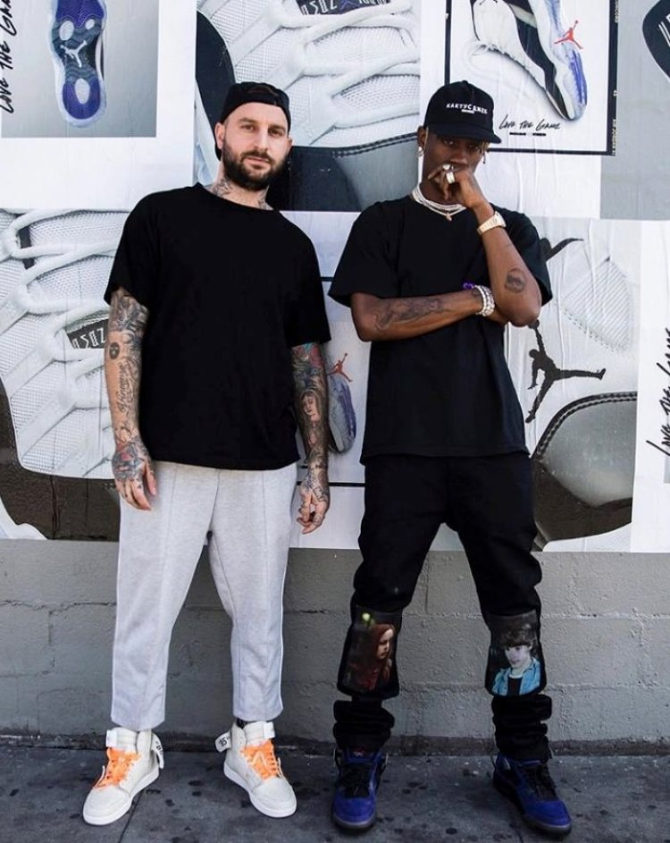 "Shoe Surgeon in the Off White x Air Jordan 1 ""Shoe Surgeon"" & Travis Scott in the Travis Scott x Air Jordan 4"