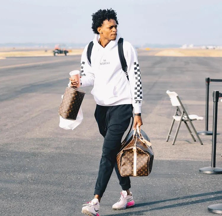 "De'Aaron Fox in the Off White x Nike Air Max 97 ""Serena Williams"""
