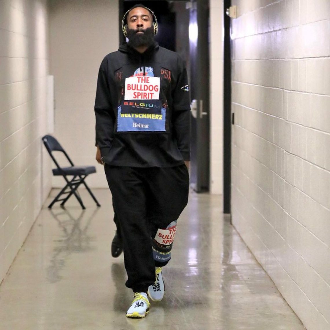 James Harden in the Pharrell Williams x adidas NMD Human Race
