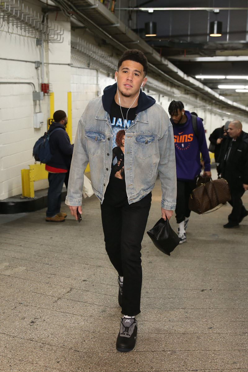 Devin Booker in the A Cold Wall x Nike Air Force 1 Low