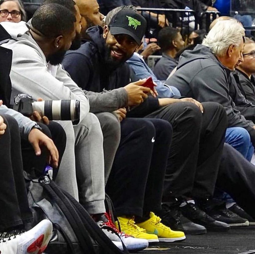 "Kyrie Irving in the Diamond Supply x Nike Dunk SB Low ""Canary"""