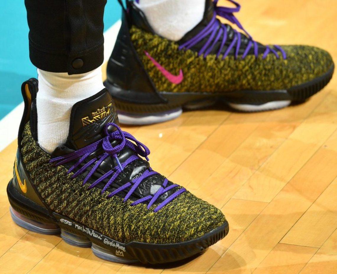 7d154ac15ee LeBron James in the Nike LeBron 16 PE vs. Charlotte Hornets (Jesse D.  Garrabrant NBAE via Getty Images)