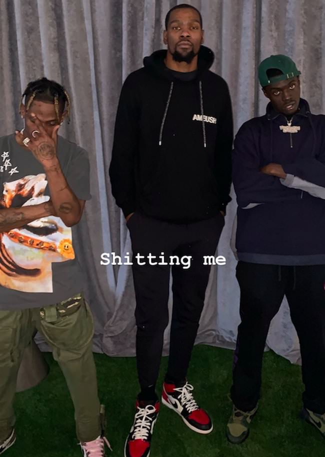 "Travis Scott in the Nike Dunk SB High Pro FLOM & Kevin Durant in the Air Jordan 1 Retro High OG ""Bred Toe"" & Sheck Wes in the Nike Dunk High Pro SB"