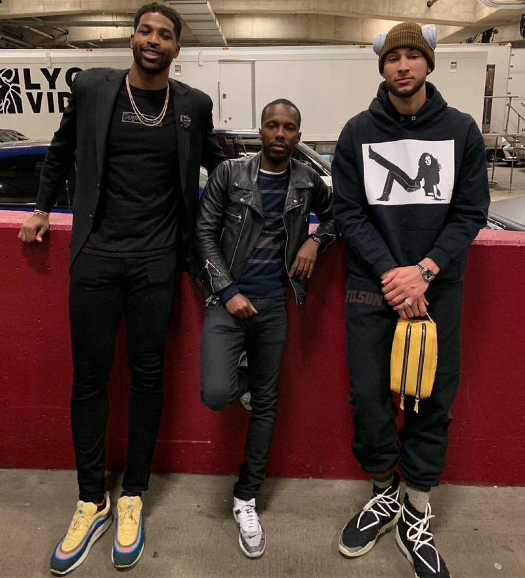 Tristan Thompson in the Sean Wotherspoon x Nike Air Max 97/1 & Rich Paul in the John Elliot x Nike Lebron Icon & Ben Simmons in the Nike Air Fear of God 1