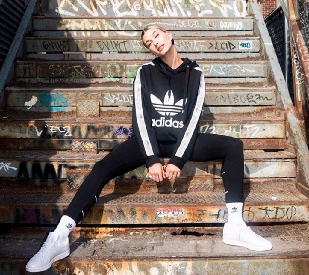 Hailey Bieber in the adidas Stan Smith