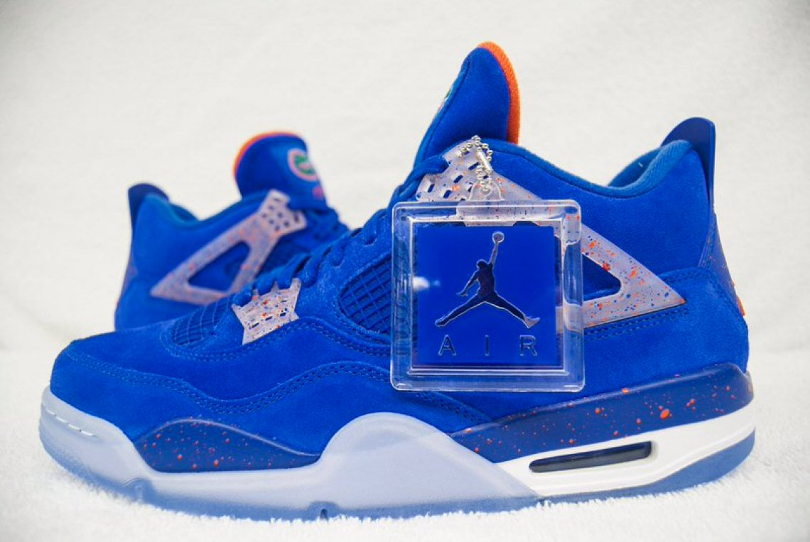 1675f5ac5f5 Seeded to the football team, conveniently before both their bowl game and  National Signing Day, this Air Jordan 4 finds blue suede all over the upper  with ...