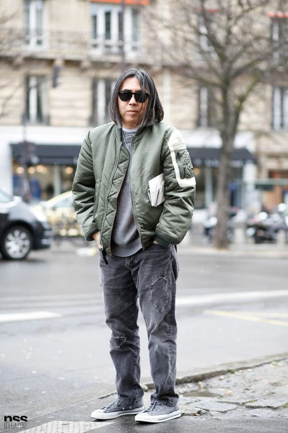 A bomber jacket is an easy layering hack that elevates cold weather styling.