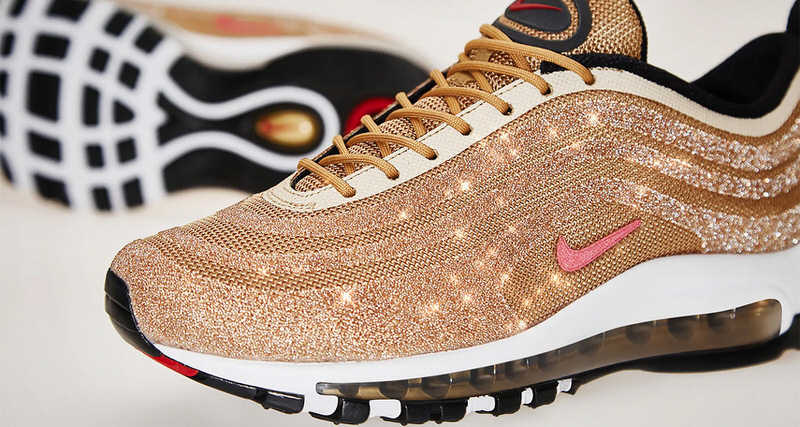 "new concept fb5b0 14104 Nike Air Max 97 ""Metallic Gold"" with Swarovski Crystals Will Be Very Limited"