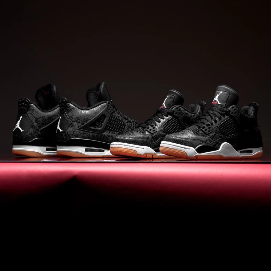 b95de3cd0f4 A first look at the feverish black colorway is revealed today, showcasing a  modern laser pattern matched with customary white and red Jumpman logo and  ...