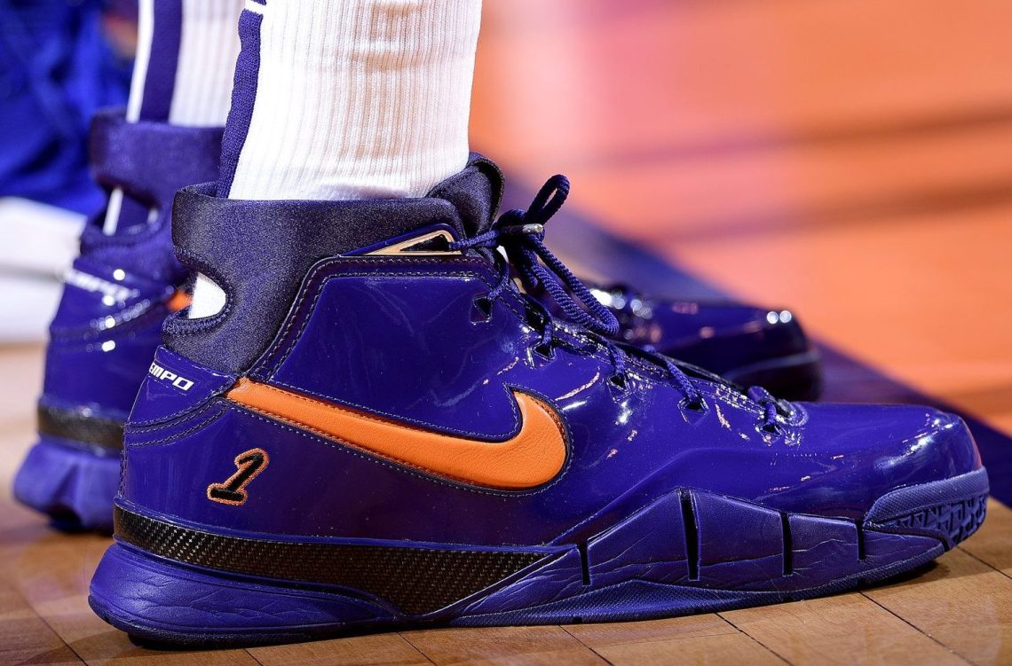 "df45b2948bba ... Kelly Oubre Jr. in the Nike Kobe Protro 1 ""Devin Booker"" PE (Michael  Gonzales NBAE via Getty Images)"