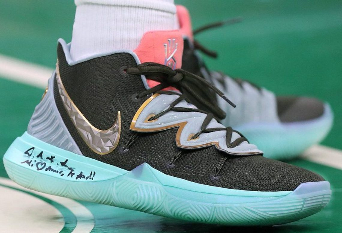 """b305df380028 Kyrie Irving in the Family and Friends Concepts x Nike Kyrie 5 """"Ikhet"""" vs.  Indiana Pacers (Maddie Meyer Getty Images) ..."""