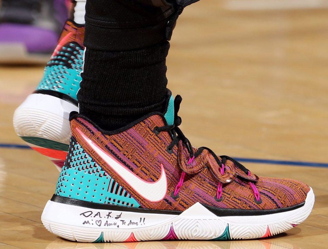 meet 026e6 3da19 ... Kyrie Irving in the Nike Kyrie 5 PE vs. New York Knicks (Nathaniel S.  Butler NBAE via Getty Images)
