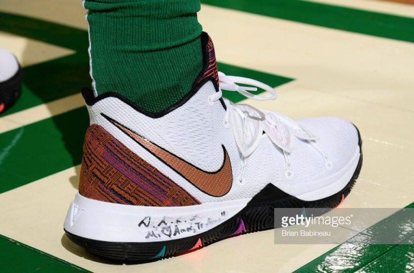 "a535df1ab9d0 Kyrie Irving in the Nike Kyrie 5 ""BHM"" vs. Oklahoma City Thunder (Brian  Babineau NBAE via Getty Images)"