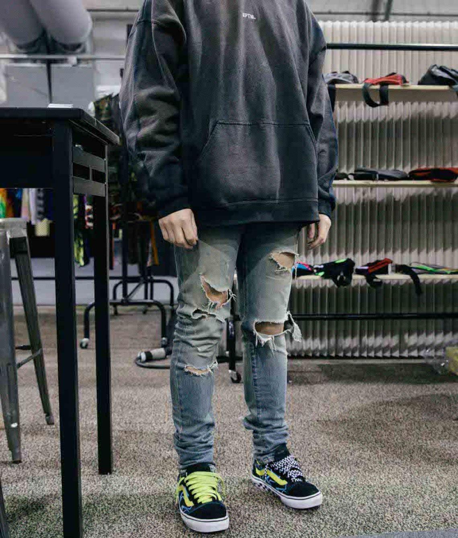 Oversized EPTM hoodie with Saint Laurent skinny jeans and Mindseeker Vans Old Skools.