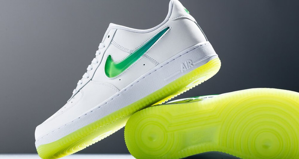 """best sneakers 3501f 62dfc Nike Air Force 1 Low """"Volt"""" Enhanced with Jewel Swoosh"""