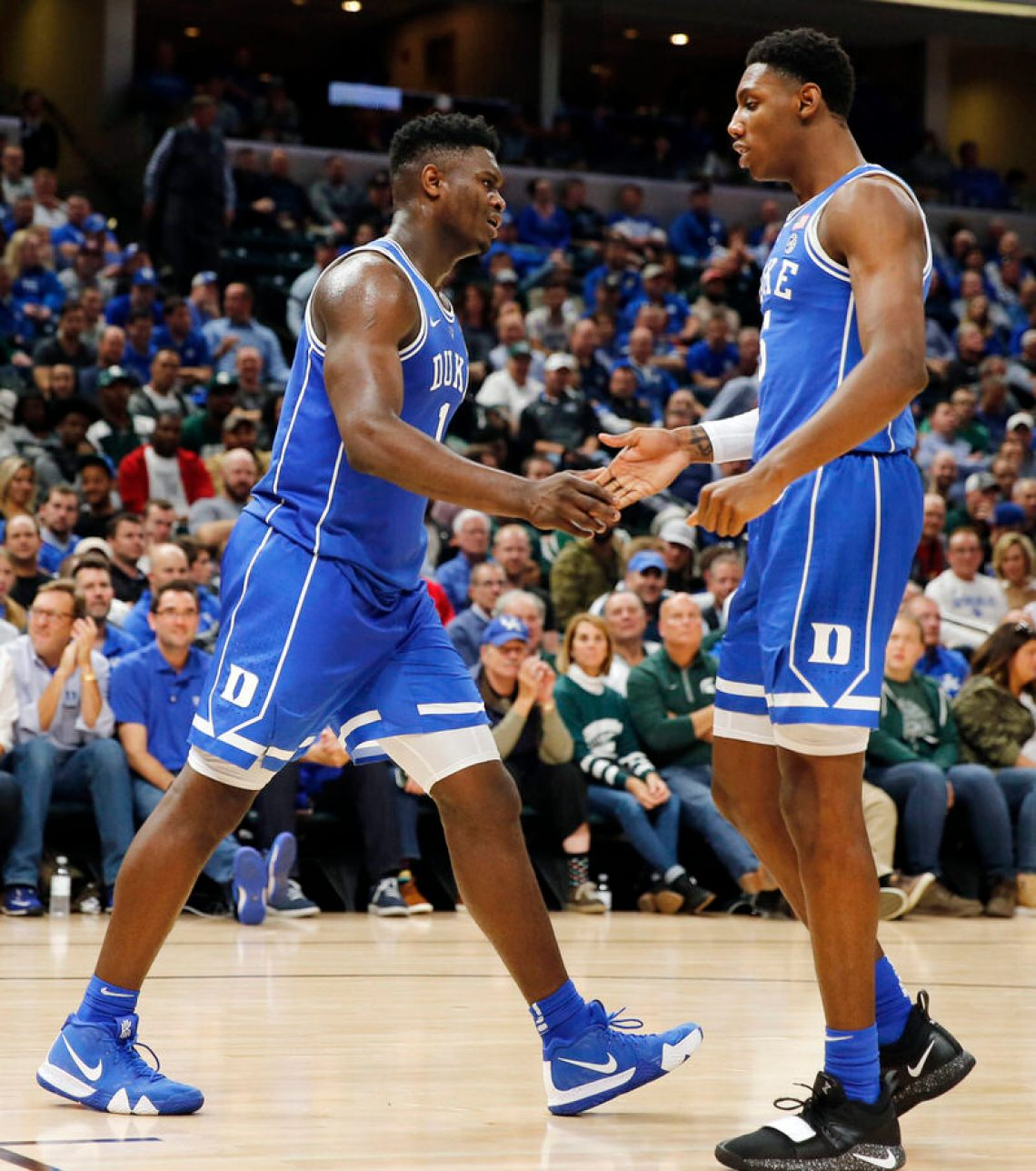 5d4a978f3ae3 ... Zion Williamson in the Nike Kyrie 4 Duke PE (photo by Brian  Spurlock-USA TODAY Sports) ...