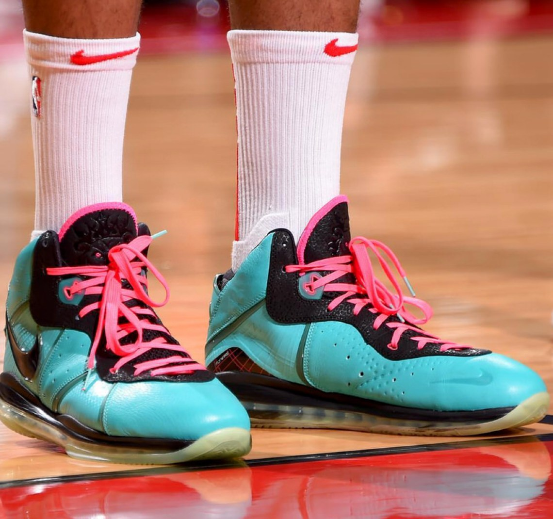 "brand new 4d038 c8dce ... PJ Tucker in the Nike LeBron 8 ""South Beach"" (photo by Bill  Baptist NBAE via Getty Images via SLAM Kicks) ..."