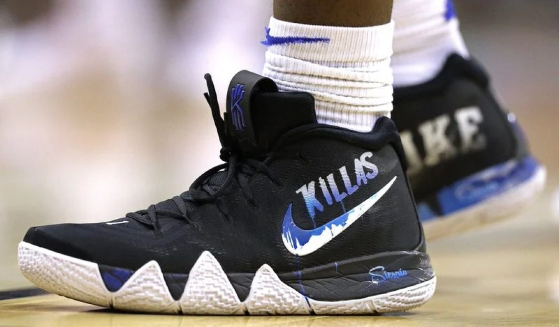 580d431aa9b2 ... Zion Williamson in a custom Nike Kyrie 4 from Sierato vs. Michigan  State (Patrick Smith Getty Images) Zion Williamson in the ...