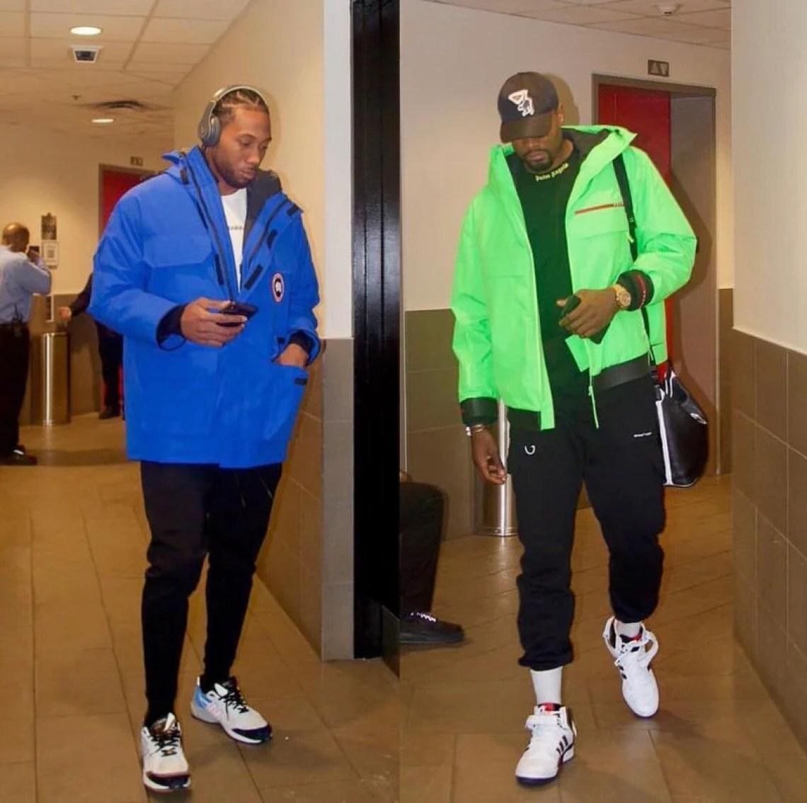 25e606c567d Kawhi Leonard and Serge Ibka both sporting this season color pop trend.